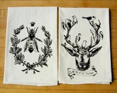 Queen Bee and Deer & Birds/We are in this Together Kitchen Dish Towel Set/2, Hand Printed Cotton Flour Sack Tea Towel, Dark Brown Ink