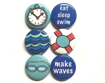 Swimming Magnets or Pinback Buttons - 1 inch swim fridge magnet or pin set, swimming goggles, waves, swimmer, coach, pool, sports gift flair