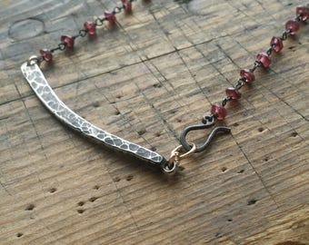 Industrial garnet beauty necklace