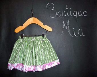 Sample SALE - Will fit Size 3-6 month up to a 24 month - Ready to MAIL - SKIRT - Green and Pink - by Boutique Mia