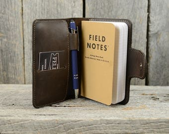 Back to School Gift Leather Memo Book Cover with Personalized Initials, Pen Holder, Card Slot - Personalized Gift for Guy Son Grad Graduate