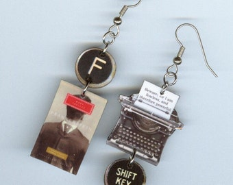 Book typewriter mismatched earrings - Frankenstein Mary Shelley quote - readers literary bookish graduation bookworm book club gift