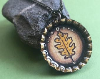 Oak Leaf - Original Illustration Pendant - Vintage Bottle Cap Necklace - Antique Brass Chain - Art Jewelry