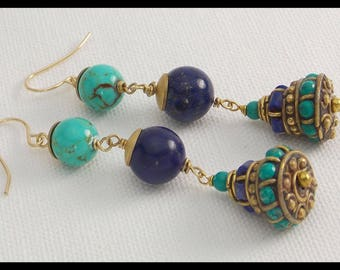 THE EMPRESS - Lapis - Turquoise - Handmade Gem Encrusted Tibetan Drops - 1 of a Kind Statement Earrings