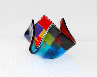 Fused Glass Candle Cup, Rainbow Glass Votive Holder -- Contempo Rainbow