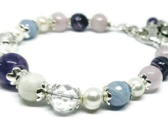 NORA Gemstone Bracelet with Blue Lace Agate, Rock Crystal, Rose Quartz, Amethyst, Moonstone gemstones, Pearls, Positive thoughts, Fertility