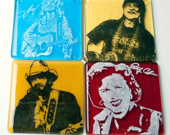 Dolly Parton Coasters, Country Music Greats, Patsy Cline, Merle Haggard, Willie Nelson Glass Coaster, Set Of 4