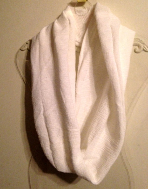 Infinity Scarf, White, Crinkle Fabric