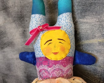 OOAK Stuffed Art Doll - Topsy Turvy Doll