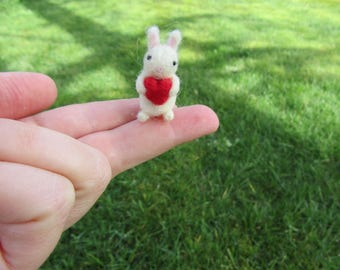 Miniature Bunny With Heart Needle Felted Tiny Miniature