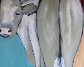 original cow painting on canvas, framed