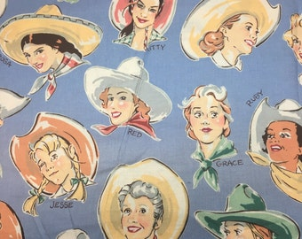 Alexander Henry Buckarettes Cowgirl Cotton Fabric OOP