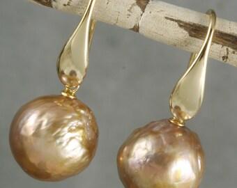 FINAL SALE - Golden Mauve Kasumi Like Pearl Drop Earrings