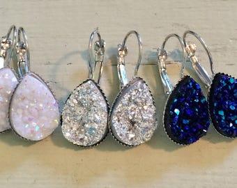 Teardrop druzy earrings-teardrop druzy leverback earrings-silver-white-midnight blue druzy earrings metallic druzy earrings