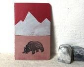 Kleiner Bär - handbedrucktes kleines Notizbuch - 9x14 cm - blanko // Moleskine, Notizheft, Illustration,