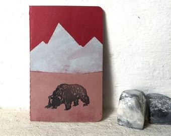 "Little bear - handprinted mini notebook / 9x14cm/3,5x5,5"" / blank / Moleskine, mini, Sketchbook"