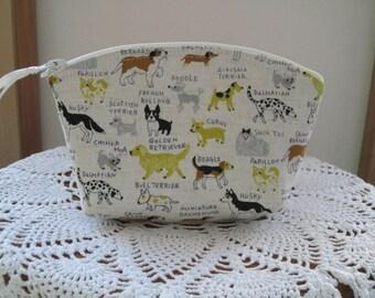 Dog Breeds Essential Oil Case  Cosmetic Bag Clutch Zipper Purse  Made in the USA Bull dog Poodle Dalmatian Dachshund Corgi