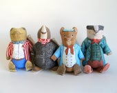 Vintage Wind in the Willows Bean Bag Plush Toy Works Toad Mole Ratty Badger Stuffed Animal 1980s Toy Kids Toy