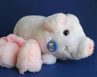 Vintage Large Mama Pig and Piglets Stuffed Animal Dakin White Pink Curly Pig Tail 1980s Toy