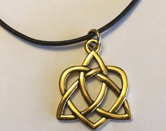 Gold & Silver Celtic Love Knot Leather Necklace Outlander Jewelry Mother's Knots Gift For Her Mom Heart Valentine Infinity Eternity Irish