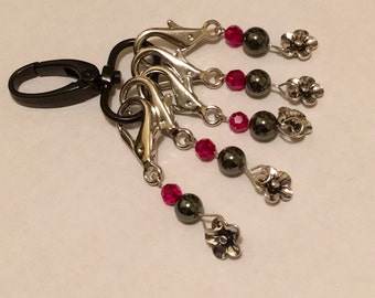 Crochet Knitting Removable Stitch Markers Swarovski Ruby Crystals and Hematite with convenient storage clip