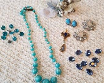 Aqua Jewelry Detash - Vintage Turquoise Beaded Necklace, Rhinestones, Clip, Pendant, Earrings