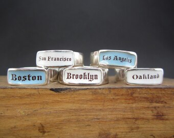 Custom Band Ring - Sterling Silver and Vitreous Enamel Custom Text Ring