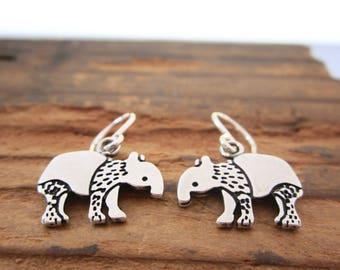 Tapir Earrings - Sterling Silver Tapir Earrings