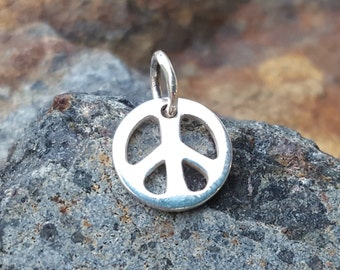 Small Peace Sign Charm - Sterling Silver - Tiny Peace Symbol