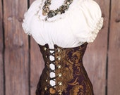 Waist 37-39 Purple and Gold Medallion Torian Corset-New Improved Pattern