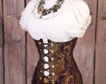 Waist 28-30 Purple and Gold Medallion Torian Corset-New Improved Pattern