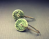 Green Floral Textured Ceramic Disc Earrings on Handmade Earwires
