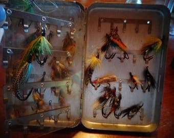 Vintage Handmade colorful Flies Salmon Flies, Assorted sizes colors feathers for Fathers Day, Mothers Day or Birthday for the fly fisherman