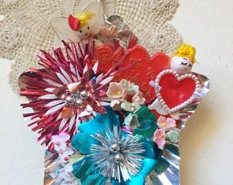 Vintage Valentine Aluminum Reflector Heart Angel Tinsel Ornament