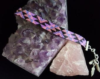 Petite pink and purple southwestern pattern bracelet