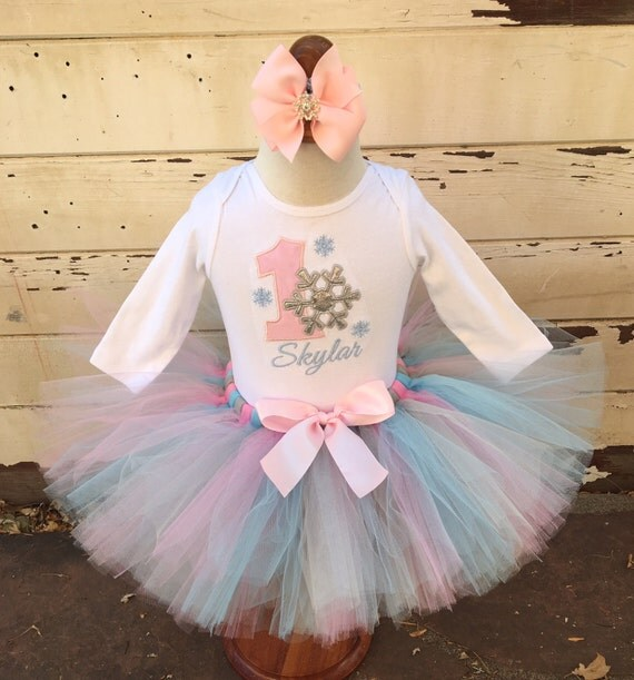 Pink u0026 Blue Winter Onederland 1st Birthday Tutu Outfit- Personalized Baby Girl by Cards and ...
