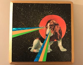 Original Collage & Painting on Wood-Beagle Dog with Laser Eyes and Cone