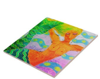 Mermaid in the Sea Abstract Digital Painting Printed on Ceramic Tile