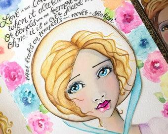 Jane Austen Quote / Sense and Sensibility / Shakespeare Sonnet 116 / Marianne Dashwood / Watercolor Fine Art Print