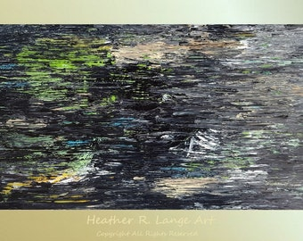 ORIGINAL Painting Abstract and Modern Canvas Acrylic Textured Large Wall Art 48x24 inches Gray Blue Green White Black Dark Stormy Night