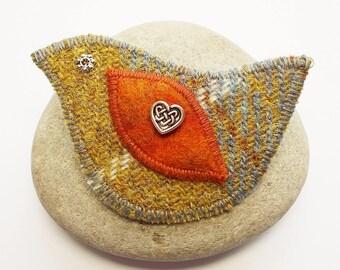 Mustard and Grey Harris Tweed Bird Brooch Pin