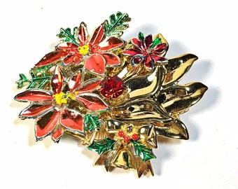 Vintage Brooch Collage Pin Christmas poinsettia holiday bell