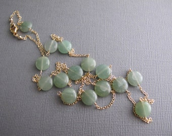 Green Layering Necklace, Green Aventurine 14K Gold Filled Dainty Necklace