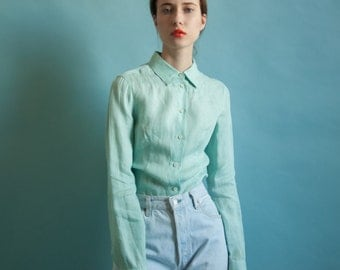 PRADA sea foam linen button down top / green linen blouse  / button down top / s  / m / 1917t / B18
