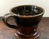 ON SALE Black and Brown Ceramic Coffee Pour Over Stoneware Clay Pottery Makes the Perfect Gift Ready to Ship
