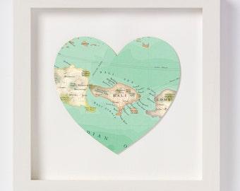 Bali Map Heart Print - framed
