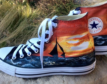 Destination Wedding, Custom Converse, Hi Top Sneakers, Wedding Converse, HandPainted Shoes, Painted Sneakers, Sailboat, Lake, Beach