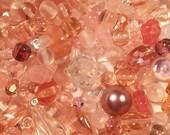 Destash Czech glass bead lot - pink, rose, peach, blush, and clear Czech glass beads