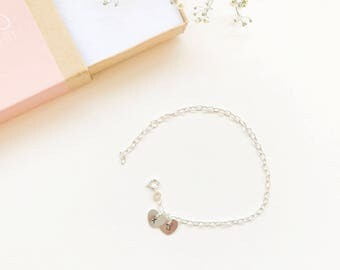 Heart charm silver bracelet - hand stamped