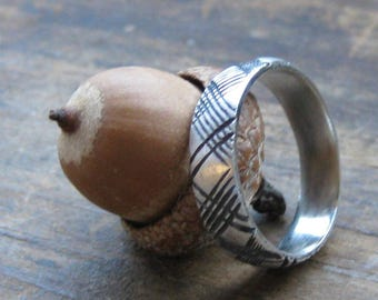Thin PLAID ring mens band sterling tartan ring Made to Order
